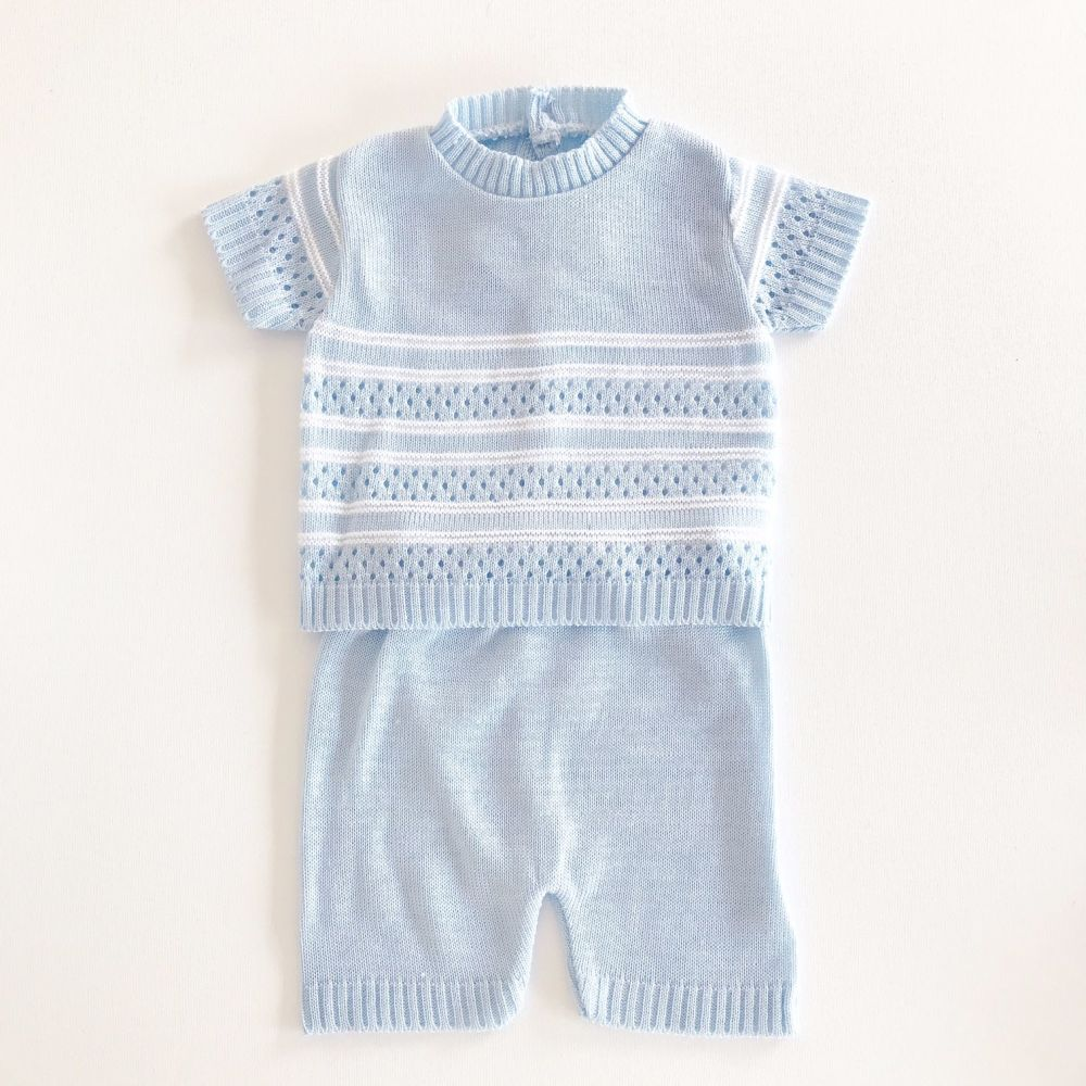 Rory Knitted Shorts Set - Sky