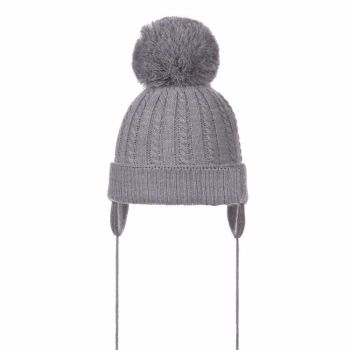 Large Pom Cable Pattern Hat - Grey