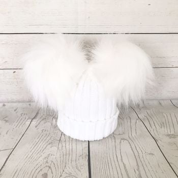 Double Fur Pom Hat - White