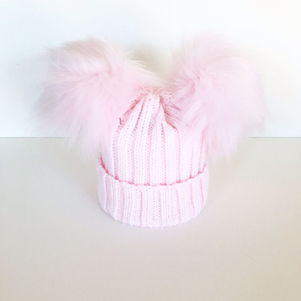 Double Fur Pom Hat - Pink