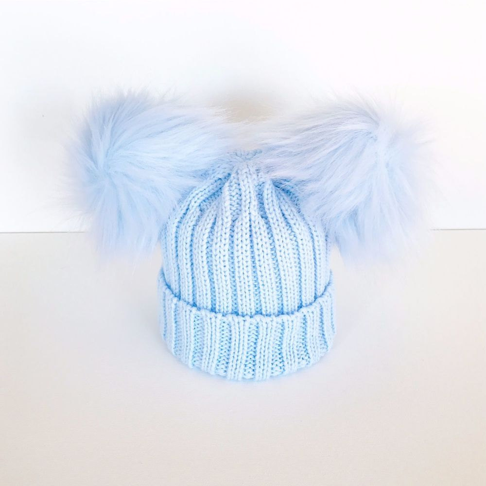 Double Fur Pom Hat - Blue