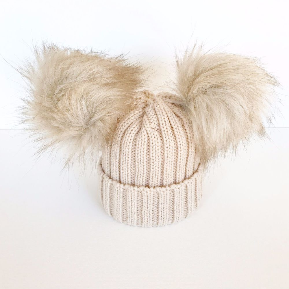 Double Fur Pom Hat - Mink