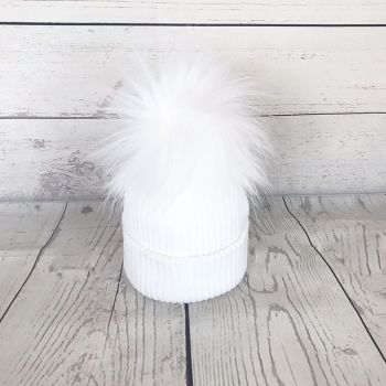 My First Large Fur Pom Hat - White