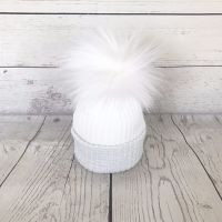 My First Large Fur Pom Hat - Silver Grey