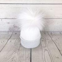 My First Large Fur Pom Hat - Silver Grey