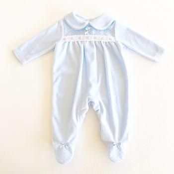 Hadley Velour BabyGrow - Blue