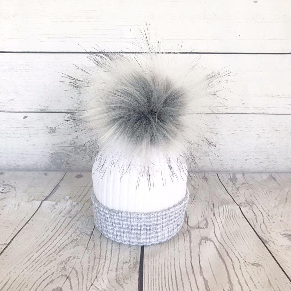 My First Large Fur Pom Hat - Grey