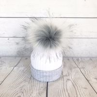 My First Large Fur Pom Hat - Grey & White