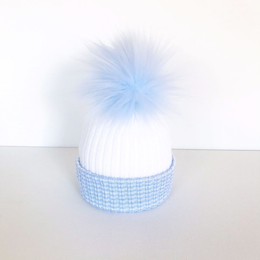 My First Large Fur Pom Hat - Blue