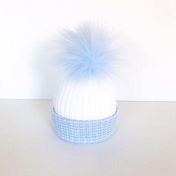 My First Large Fur Pom Hat - Blue