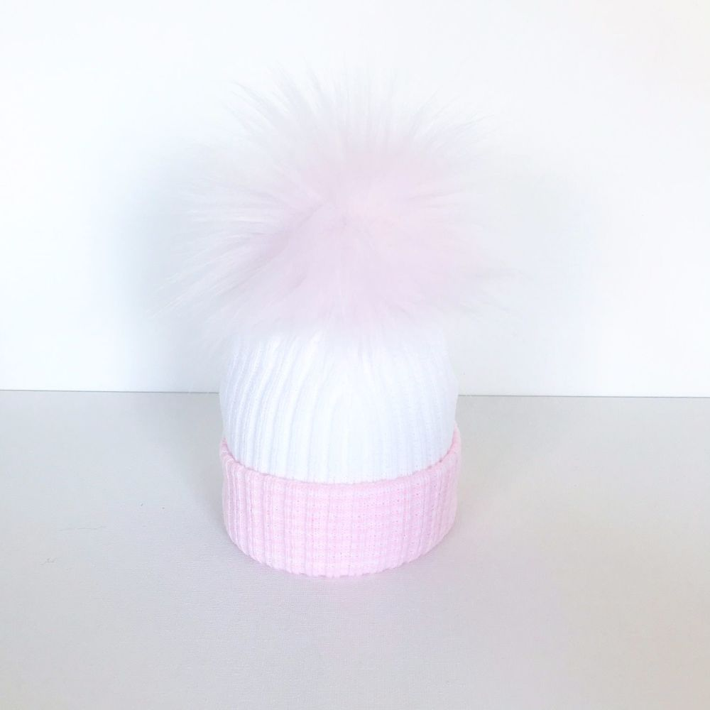 My First Large Fur Pom Hat - Pink