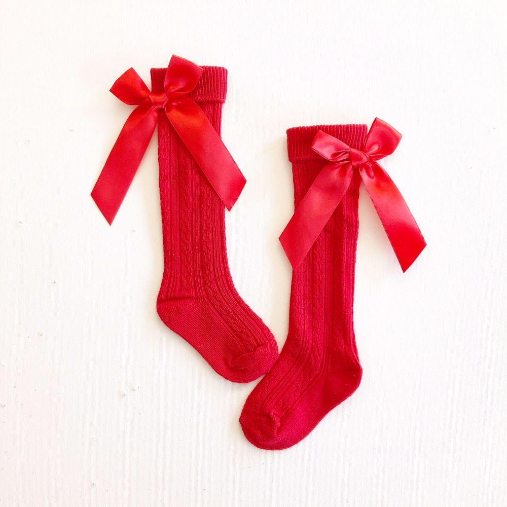 Ribbed Bow Back Knee Socks - Red