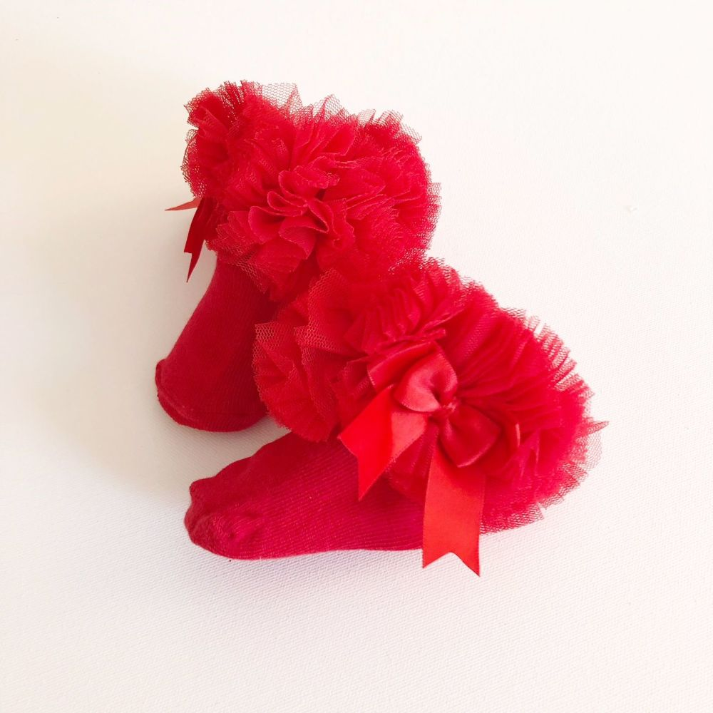 Tutu Sock With Bow - Red