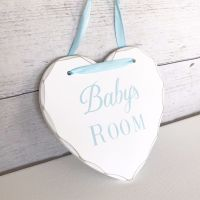 'Baby's Room' Wooden Heart Plaque - Blue