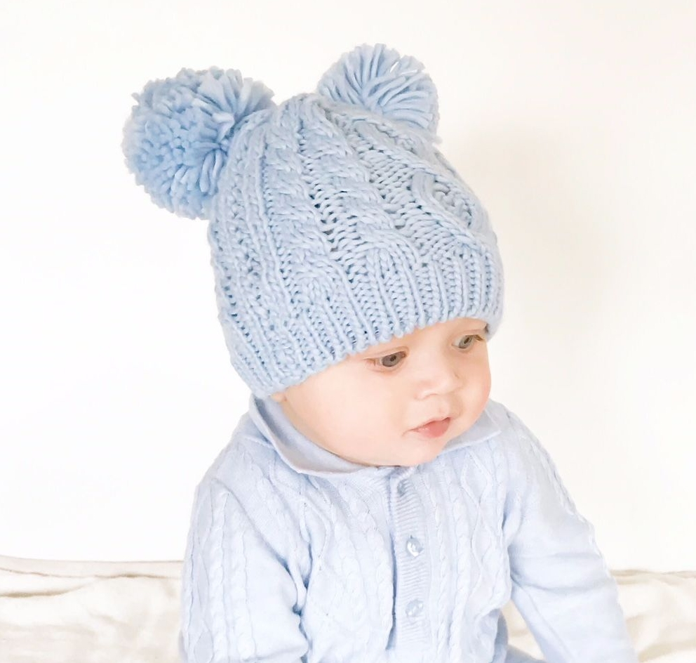 Double Pom Pom Hat & Mittens Set - Blue