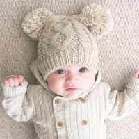 Double Pom Pom Hat & Mittens Set - Mink