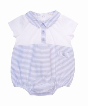 Jasper Blue & White Pinstripe Shortie