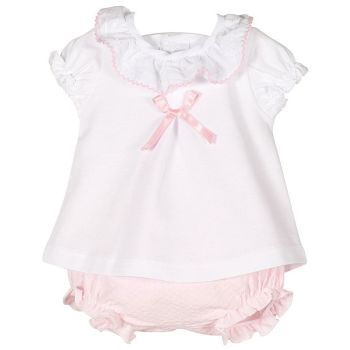Paisley Frill Neck Top & Bloomers Set - Pink