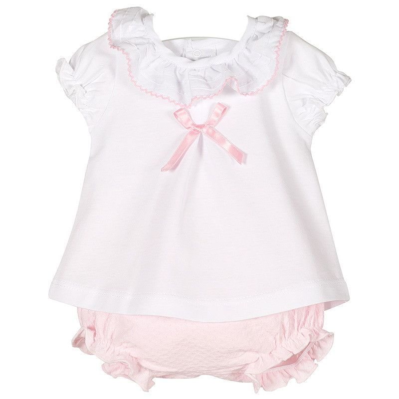 NEW SEASON - Paisley Frill Neck Top & Bloomers Set - Pink