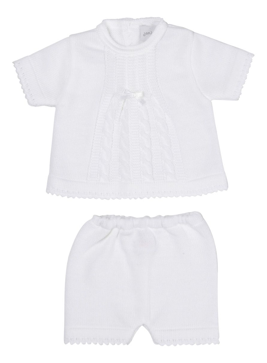 NEW SEASON - Riley Knitted Shorts & Top Set - White