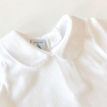 NEW SEASON - Babidu Short Sleeve Peter Pan Collar Bodysuit - White