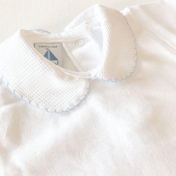 NEW SEASON - Babidu Short Sleeve Peter Pan Collar Bodysuit - Blue
