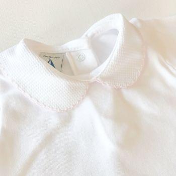 NEW SEASON - Babidu Short Sleeve Peter Pan Collar Bodysuit - Pink
