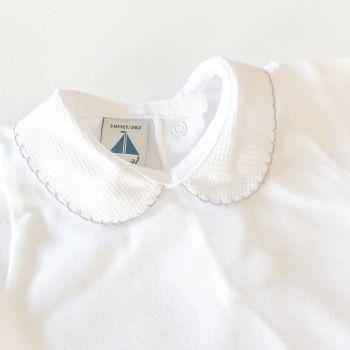 NEW SEASON - Babidu Short Sleeve Peter Pan Collar Bodysuit - Grey