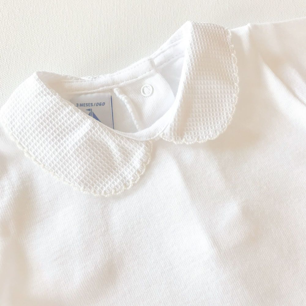 NEW SEASON - Babidu Short Sleeve Peter Pan Collar Bodysuit - Cream