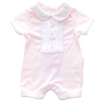 Buttons & Bows Romper & Hat Set - Pink