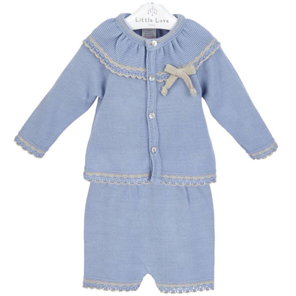 NEW SEASON - Roman Knitted Cardigan & Shorts Set - Blue
