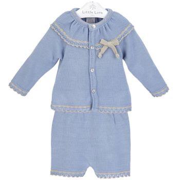 NEW SEASON - Roman Knitted Cardigan & Shorts Set - Blue