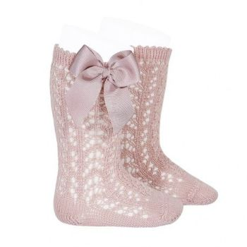 Perle Knee High Socks With Bow - Tea Rose