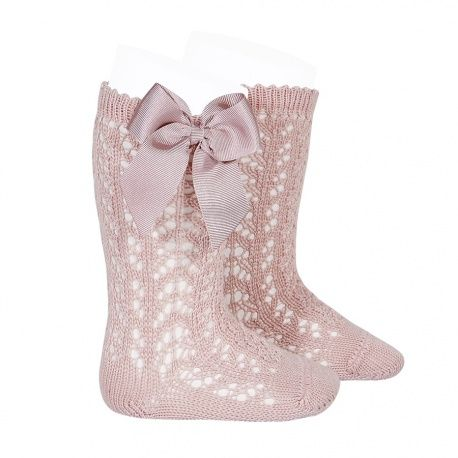 NEW SEASON - Perle Knee High Socks With Bow - Tea Rose
