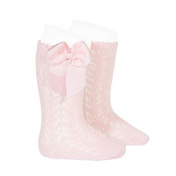 Perle Knee High Socks With Bow - Pink