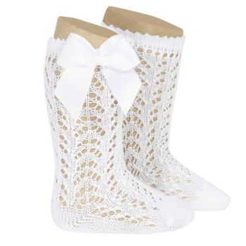 Perle Knee High Socks With Bow - White