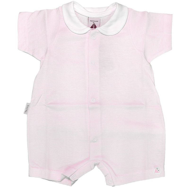 NEW SEASON - Babidu Short Sleeve Micro Stripe Romper - Pink