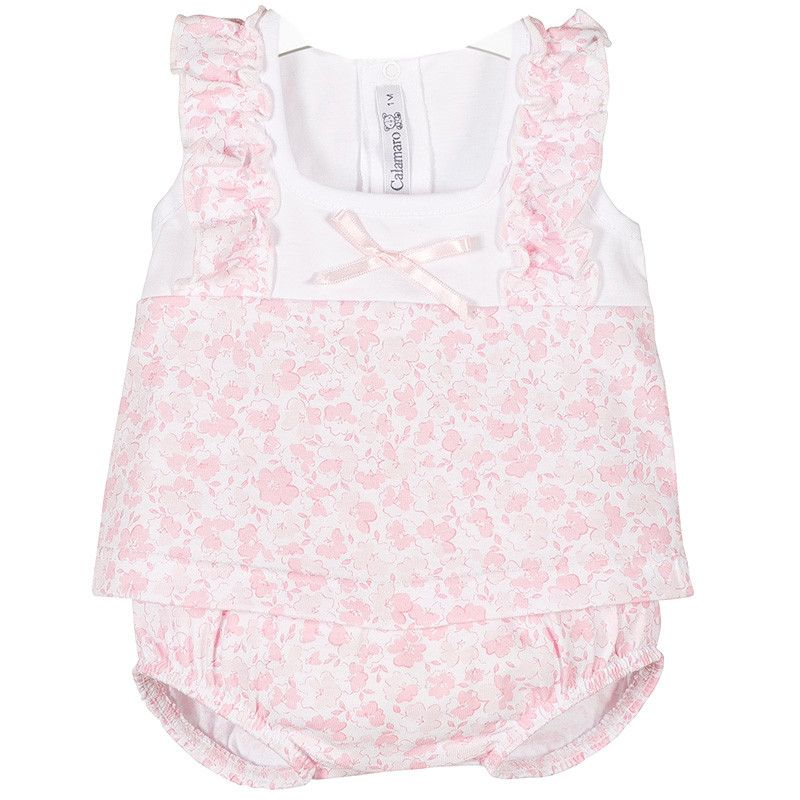 NEW SEASON - Blossom Floral Top & Bloomers Set - Pink