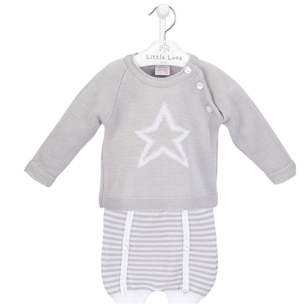 NEW SEASON - Maddox Knitted Jumper & Shorts Set - Grey