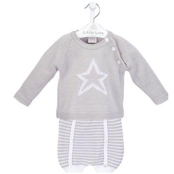NEW SEASON - Reggie Knitted Jumper & Shorts Set - Grey