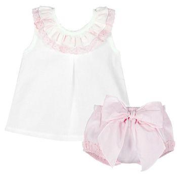 Amelia Frill Cami & Pants Set - Pink