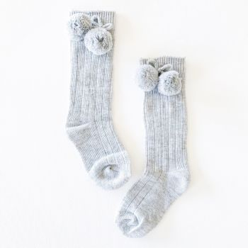 Ribbed Pom Pom Knee Socks - Grey