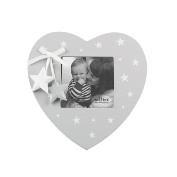 Grey & White Star Heart Photo Frame