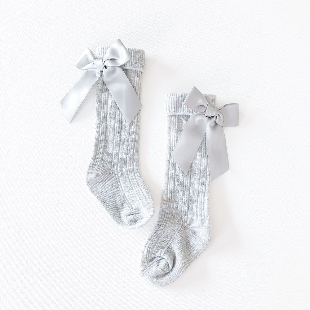 Ribbed Bow Back Knee Socks - Grey