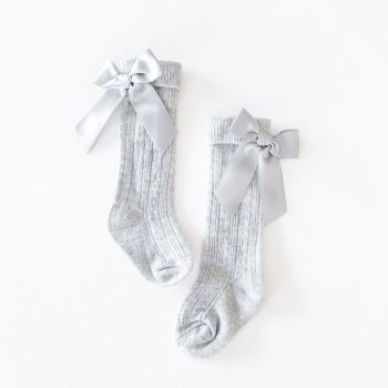 Ribbed Bow Back Knee Socks - Grey