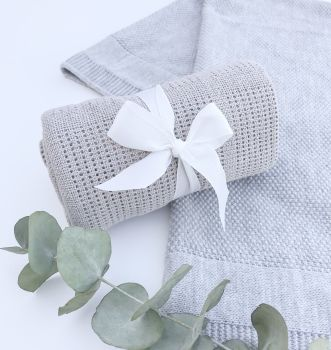 Cotton Cellular Blanket - Grey