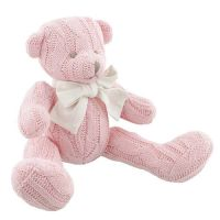 Soft Knitted Teddy Bear - Pink