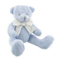Soft Knitted Teddy Bear - Blue
