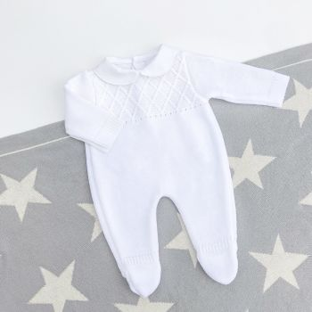NEW - Blake Knitted Onesie - White