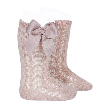 Perle Knee High Socks With Bow - Vintage Rose